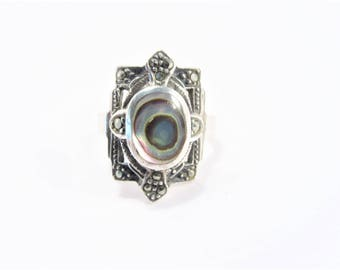 Vintage Art Deco Style Abalone Sterling Ring Size 6