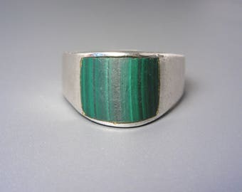 Mens Vintage Taxco Mexican Sterling Arched Malachite Ring Size 14