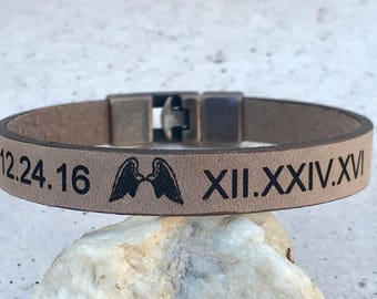 FREE SHIPPING-Personalized Custom Bracelet,Personalized Men Bracelet,Men LeatherBracelet,Engraved Leather Bracelet,Custom Engraved Bracelet