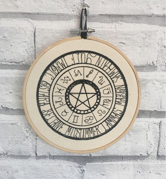 Zodiac and Pagan Wall Art Embroidered Hoop Decor