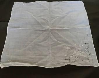 V274 White embroidered handkerchief 10x10 cotton