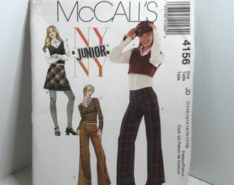 D157 McCall's 4156, juniors,sewing pattern, pants,skirt,top,long,sleeveless,vest  uncut