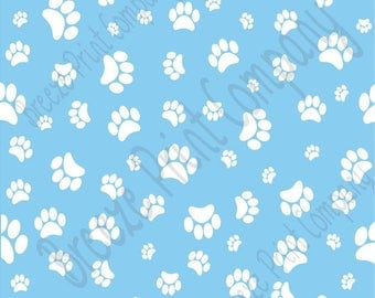 Light Blue with white paw prints craft  vinyl sheet - HTV or Adhesive Vinyl -   pattern HTV612