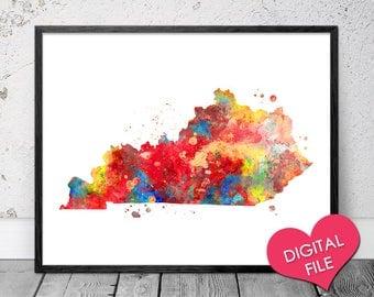 Kentucky Map Watercolor, PRINTABLE Art, Digital Download, Kentucky Map Prints, Kentucky Printable Map, Kentucky Art Print, Kentucky State