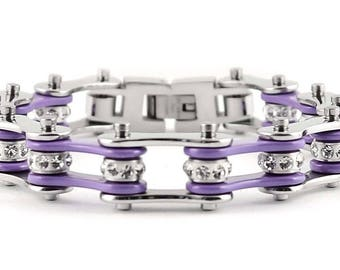 Women's Ladies Motorcycle Stainless Steel Crystal Violet Bike Chain Bracelet