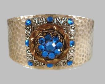 Blue Rhinestone Cuff Bracelet - Silver - Repurposed Vintage - Boho Cuff Bracelet - Bohemian Jewelry