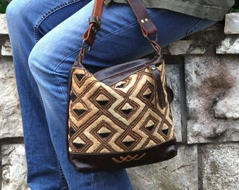 Ethnic Leather Shoulder Bag - Brown Leather Shoulder Bag - Tribal Leather Shoulder Bag - Brown Leather Every Day Bag