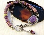 charoite srebrny bransoleta, Srebrna bransoletka Boho, elegancka kobieta bransoletka, regulowane zamknięcie