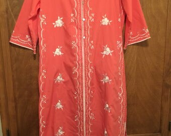 Vintage Salmon Hawaiian MuMu Lounge Gown