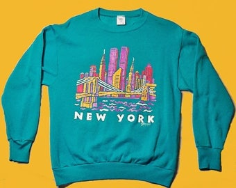 90's Unisex Ladies Sweat Shirt New York City NYC Twin Towers 90's fashion Colors