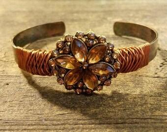 Copper Bracelet, Copper Cuff, Copper Crystal Bracelet, Neo-Vintage Bracelet