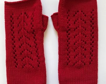 Fingerless Mittens Hand Warmers Wool Fine Gauge in Pointelle Stitch Red