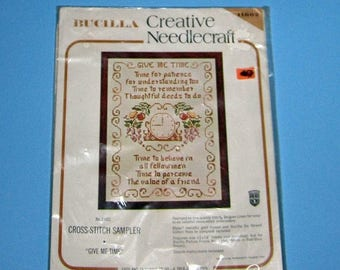 SALE Bucilla Creative Needlecraft Cross Stich Sampler   Give me time kit 11602  Vintage New