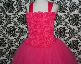 Pink Flower Girl Tutu Dress, Hot Pink Flower Girl Tutu Dress, Pink Flower Girl Dress, Tutu Dress, Pink Tutu Dress, Hot Pink Tutu Dress