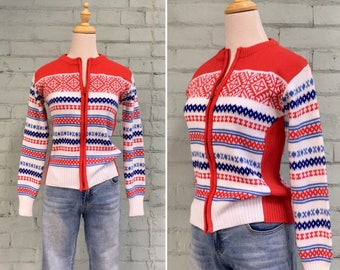 1970s Nordic ski sweater / 70s red white blue cardigan / 70s zip up knit sweater / 1970s Gordini ski sweater / size extra small