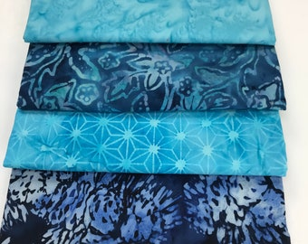 BATIK BUNDLE - 4 Half Yards of Batiks - Blues from Majestic Batiks