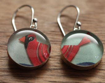 Cardinal earrings made from recycled Starbucks gift cards. sterling silver and resin.