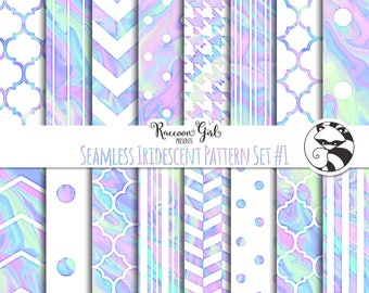 Seamless Iridescent Pattern Set #1 Digital Paper Set - Personal & Commercial Use
