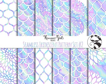 Seamless Iridescent Pattern Set #2 Digital Paper Set - Personal & Commercial Use