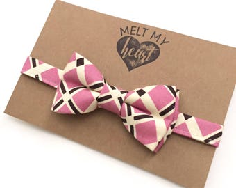 Bow Tie - plaid, fuschia rose, baby bow tie, kids, wedding, birthday, shower, gift