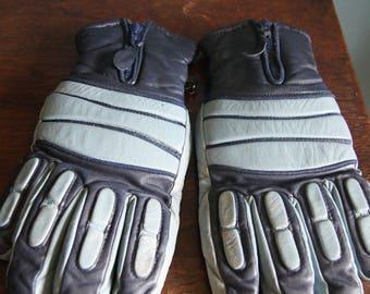 Men's Vintage real leather ski 70's Gloves Blue color
