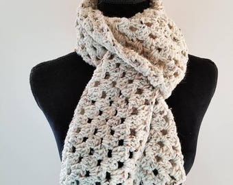 ON SALE Scarf - Crochet Scarf, Beige Scarf, Handmade Scarf, Neckwarmer, Chunky Scarf, Unisex Scarf, Gift for Her, Gift for Him