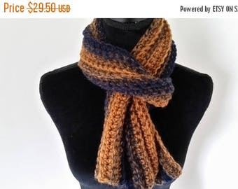 ON SALE Neckwarmer Scarf - Crocheted Brown Blue, For Her, For Him, Unisex