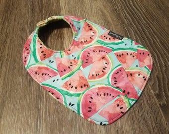 Watermelon Bib - Summer Bib - Cute Bib - reversible bib - snap on bib - handmade bib - baby bib - toddler bib - infant bib - traditional bib
