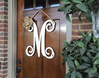 Metal Monogram Door Wreath w/ribbon, Front Door Wreaths, Letter Door Wreath, Monogrammed, Front Door Letters, Large Metal Letter, Door Decor
