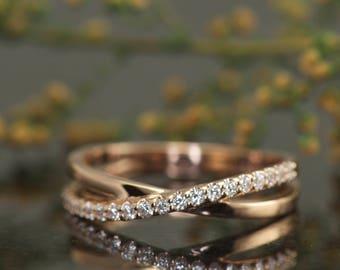 Criss Cross Diamond Band in 14k Rose Gold, Prong Set Diamonds, Criss-Cross Design, 4mm Wide, 0.20ctw, Stacking Diamond Band, Alexis N