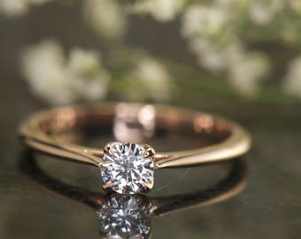 Diamond Solitaire Engagement Ring in 14k Rose Gold, 0.35ct Round Diamond G/VS2-SI1  , 1.4mm Tapered Cathedral Setting, Claw Prongs, Talia D