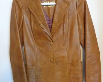 Vintage Brown Leather Jacket, Vintage Tan Marquis Brown Coat, Jacket Tan, Vintage Tan Leather Jacket, Vintage Jacket Tan Leather, Tan Jacket