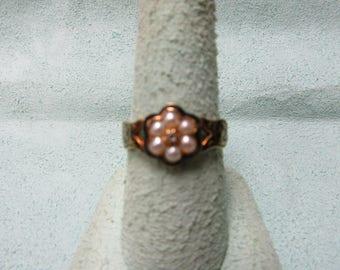 Mourning Ring Natural Pearls, Rose Cut Diamond, Black Enamel 14 Karat Gold