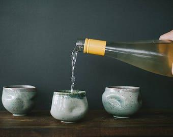 Handmade ceramic cups | wheel thrown Fluid tumbler | set of 3