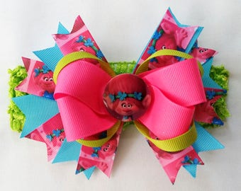 Boutique Baby Hair Bow Troll Poppy Headband