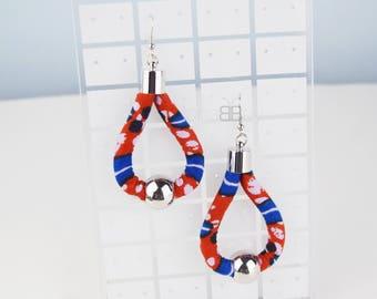 African fabric hoop earrings,textile earrings, ankara earrings, boucles d'oreilles ethniques, birthday gift, gift idea, handmade earrings