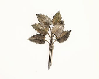 Vintage sterling silver leaf spray brooch Charles Horner hallmarked 1944, WW2 lapel pin, vintage silver jewellery 1940s foliate brooch