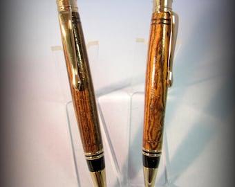 Handmade bocote pen and pencil set
