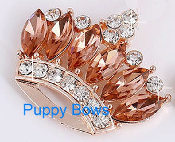 """Puppy Bows ~ 2"""" blue red gold crown 4 colors! rhinestones dog bow  pet hair clip topknot barrette"""