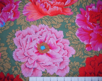 BROCADE PEONY RED Philip Jacobs  Kaffe Fassett Collective Sold in 1/2 yd increments