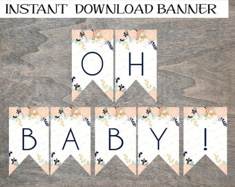 Floral Baby Shower OH BABY! Banner   Baby Sprinkle   Peach Mint Navy Mustard Gold Girl Boho Arrows