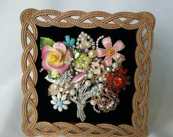 Jeweled Picture Frame - Floral Bouquet