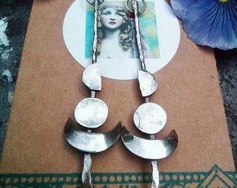 Moon Phase Earrings. Long Sterling Silver Crescent Moon Earrings. Psychic Gypsy Soul, Boho.