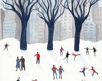Winter Iceskating Illustrated Art Print