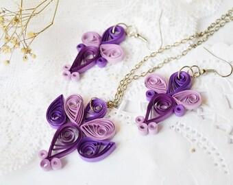 purple and pink bridesmaid jewelry set, Purple and pink wedding gifts, bridesmaid necklace and earrings
