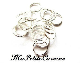 Set of 20 rings 12 mm silver