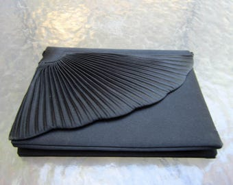 Vintage black Delill evening bag clutch purse with Art Deco lines - estate piece