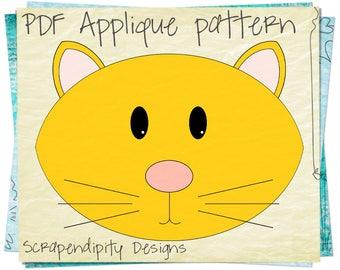 Cat Quilt Applique Template - Cat Iron on Pattern / Kitty Applique Template / Boy Shirt Applique / Animal Baby Quilt Design AP21-D