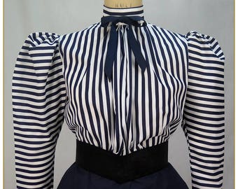 Navy & White Stripe Victorian Blouse