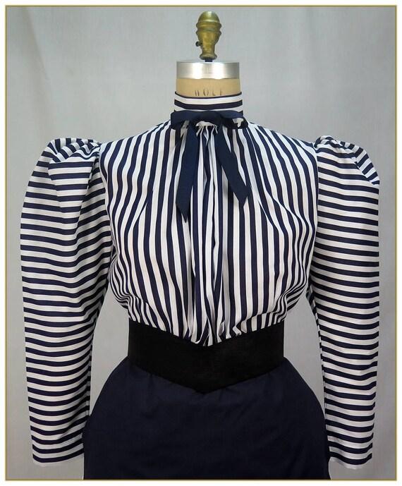 Victorian Blouses, Tops, Shirts, Vests Navy & White Stripe Victorian BlouseNavy & White Stripe Victorian Blouse $59.00 AT vintagedancer.com